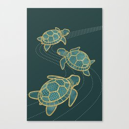 Japanese Pond Turtle / Teal Canvas Print