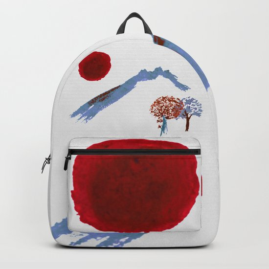 Mountain trees watercolor Backpack