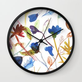 painted flowers pattern Wall Clock