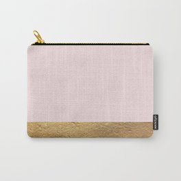 Color Blocked Gold & Rose Carry-All Pouch
