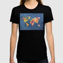 world map blue 2061 #map #worldmap T-shirt
