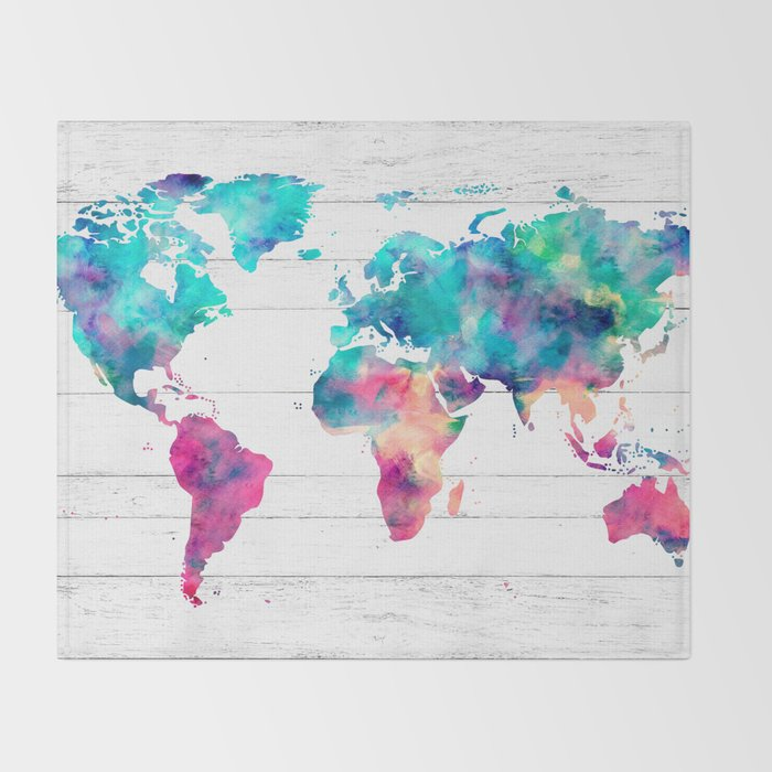 World Map Watercolor Paint On White Wood Throw Blanket By Mapmaker - World map blanket