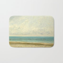 Calm Sea Oil Painting by Gustave Courbet Bath Mat