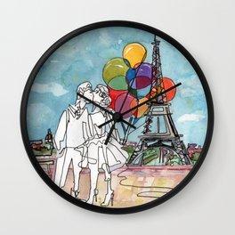Kissing in Paris Wall Clock