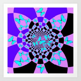 Purple & Blue Butterfly Geometric Abstract Designs Art Print