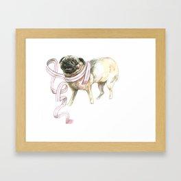 Scarf Pug Framed Art Print