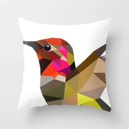 Pink hummingbird portrait Throw Pillow