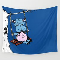 hippo Wall Tapestries featuring Hippo Swinging by Abi Makes Music