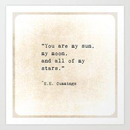 EE Cummings, Sun Moon Stars Quote, Love Art Print