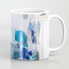 Christmas interior in blue color. Christmas tree with fireplace, Christmas holiday and New Year back Coffee Mug