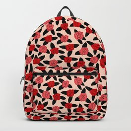 Red and Pink Rose Pattern Backpack