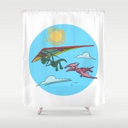Hang Glider Dinosaur Shower Curtain