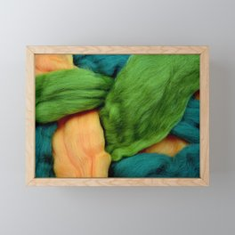 Felting Wool Abstract In Greens And Orange Framed Mini Art Print