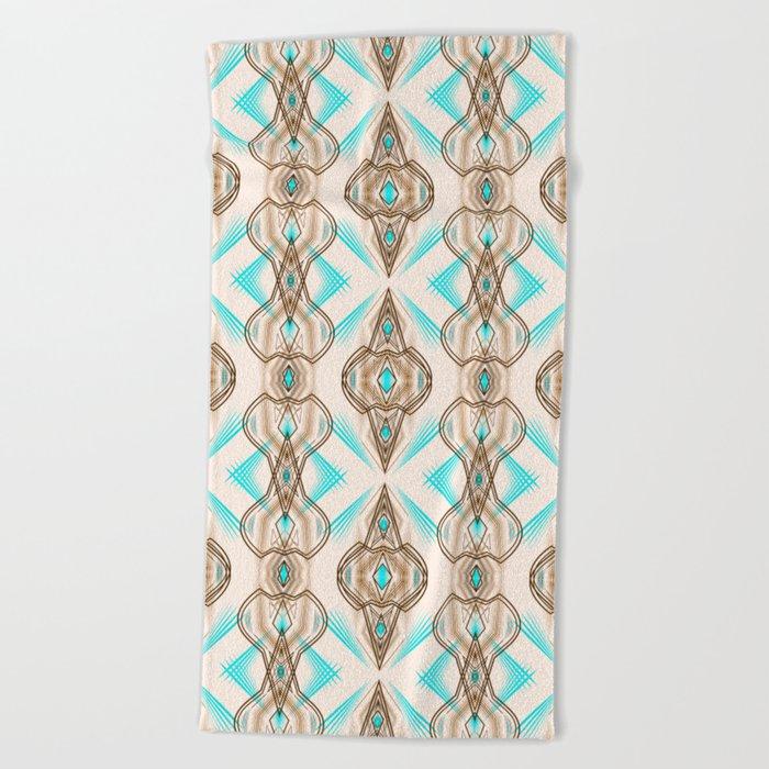 Art Deco . Turquoise brown white . Beach Towel