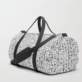 Hieroglyphics B&W / Ancient Egyptian hieroglyphics pattern Duffle Bag