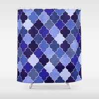morocco Shower Curtains featuring Morocco Blue by Jacqueline Maldonado
