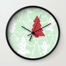 Elegant Green Christmas Trees Holiday Pattern Wall Clock
