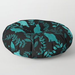 Watercolor Floral and Cat IV Floor Pillow