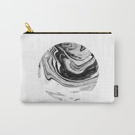 Chi - abstract minimal black and white modern art painting swirl marble pattern waves water Carry-All Pouch
