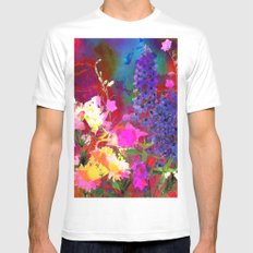 Floral chaos White MEDIUM Mens Fitted Tee