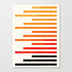 Orange Watercolor Gouache Staggered Stripes Pattern Simple Modern Minimalist Art Canvas Print