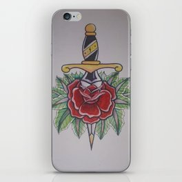 Dagger with rose, old school. iPhone Skin