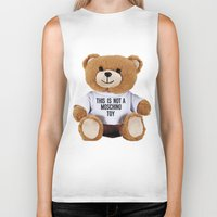 moschino Biker Tanks featuring TEDDY BEAR PARFUM MOSCHINO by Claudio Velázquez