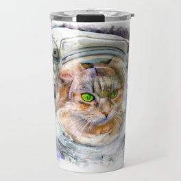 Space Cat Watercolor Travel Mug