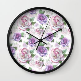 Modern hand painted purple lavender watercolor roses floral Wall Clock
