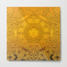 Rich elegant embossed golden metallic pattern and design with center circle surrounded by detail Metal Print