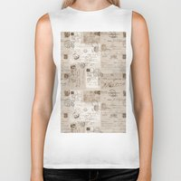 letters Biker Tanks featuring Old Letters by LebensART