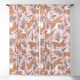 Vibrant Wilderness / Tigers on Pink Sheer Curtain