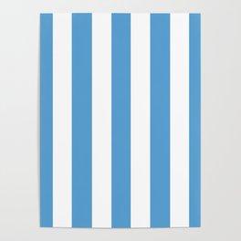 Carolina blue - solid color - white vertical lines pattern Poster