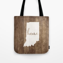 Indiana is Home - White on Wood Tote Bag