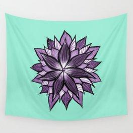 Purple Mandala Like Abstract Flower Wall Tapestry