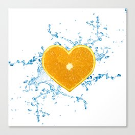 Slice of Heart Shaped Orange Canvas Print