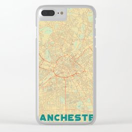 Manchester Map Retro Clear iPhone Case