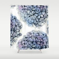 hydrangea Shower Curtains featuring Hydrangea by Henry Chang