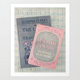 Pink and Gray Books Art Print