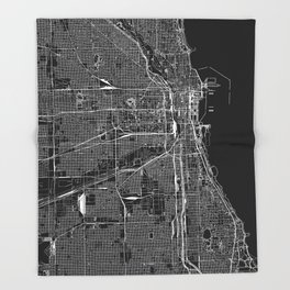 Chicago Black Map Throw Blanket