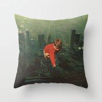 houston Throw Pillows featuring houston by Jesse Treece