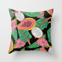 Exotic Jungle Tropical Fruit - Summer Spring Foliage Tropical retro Botanical Plants Leaves Throw Pillow