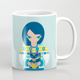 Girl with a Maneki Neko Coffee Mug