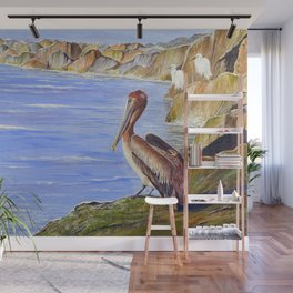 Pelican And Snowy Egrets On A Jetty Wall Mural
