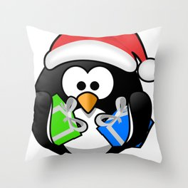 Penguin with Gifts Throw Pillow