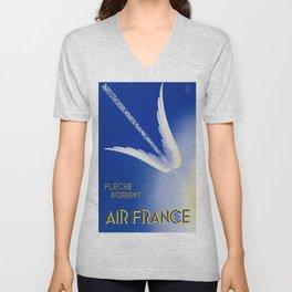Flèche D'Orient - Vintage Air France Travel Poster Unisex V-Neck