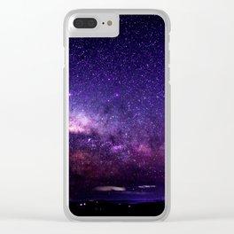 Purple Blue Milky Way Landscape Clear iPhone Case