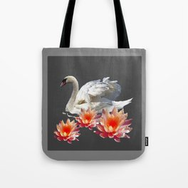 White Swan & Peach Water Lilies Grey Art Patterns Tote Bag