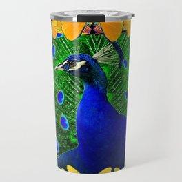 Red Wildlife Art Blue Peacock & Yellow Butterflies Art Travel Mug