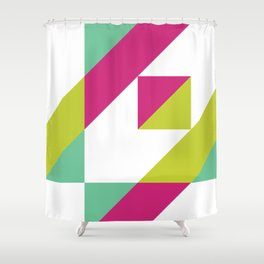 Hot Pink and Neon Chartreuse Color Block Shower Curtain